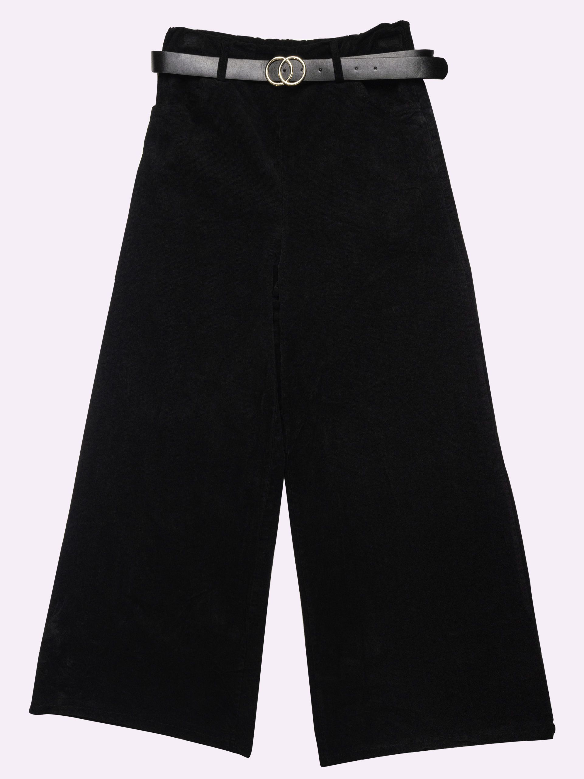Pantaloni neri a palazzo con cintura