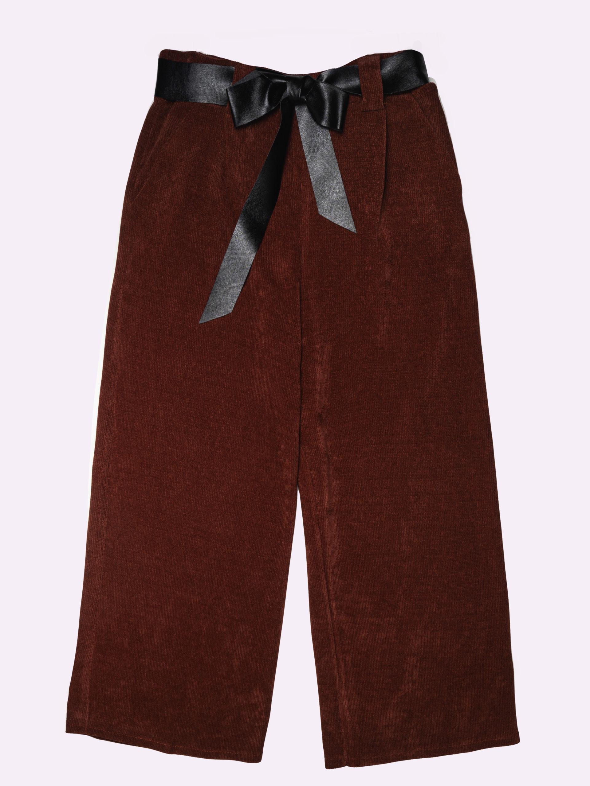 F52551 Pantalone Velluto Con Fiocco