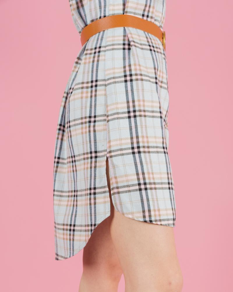 Camicia lunga a quadri con cintura