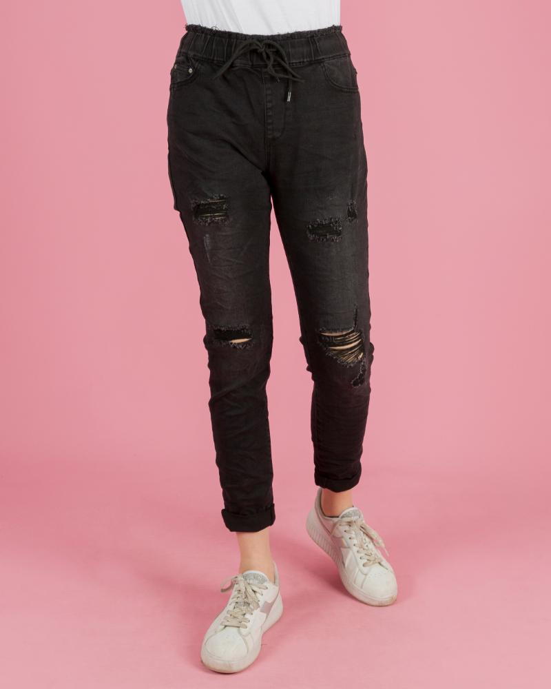 jeans strappato elastico in vita