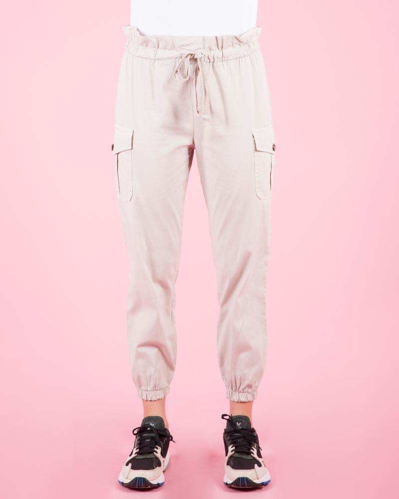 Pantaloni a vita alta con fiocco