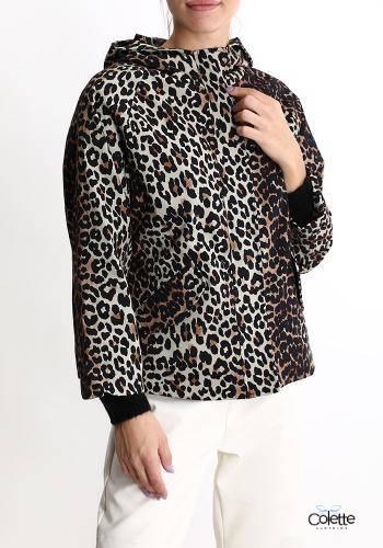 H2154 Cappotto In Cotone Con Zip Con Tasche Con Cappuccio Fantasia Animalier