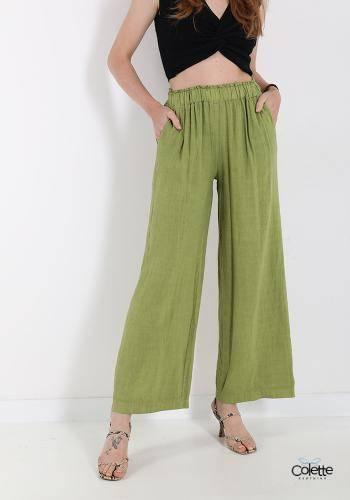 F1293 Pantalone In Lino Con Tasche