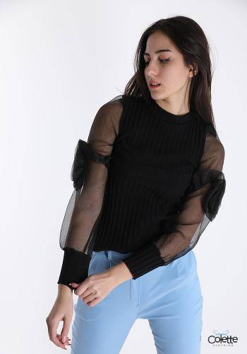 A15715 Blusa In Cotone Tulle