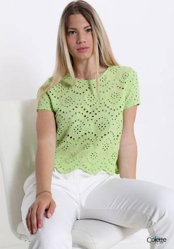 A8459 T-shirt In Cotone Fantasia Ricamata
